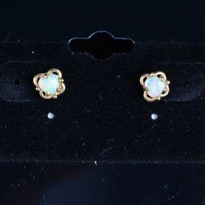 14KT Gold Opal Stud Vintage Earrings